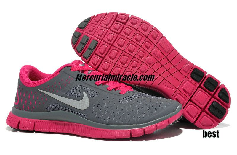 ba4f2f4cd1f3 Womens Nike Free Running Shoes - Nike Free Run 4 V2 Dark Grey Reflective  Silver Fireberry