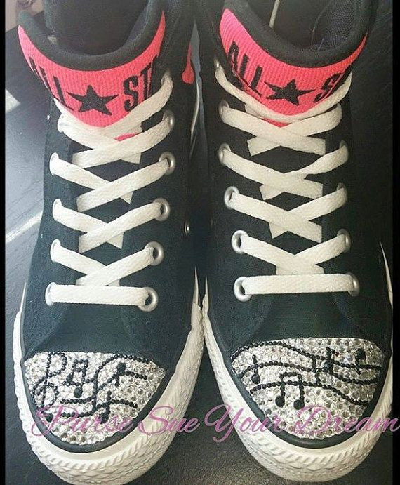 20b30ce41132 Custom Crystal Rhinestone Musical Note Converse Shoes - Custom Shoes - Swarovski  Crystals - Treble C