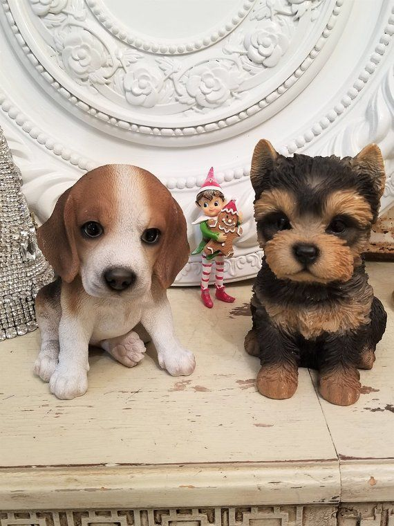 2 Sweet Puppy Dog Statue Figure Figurine Beagle Yorkie Friends