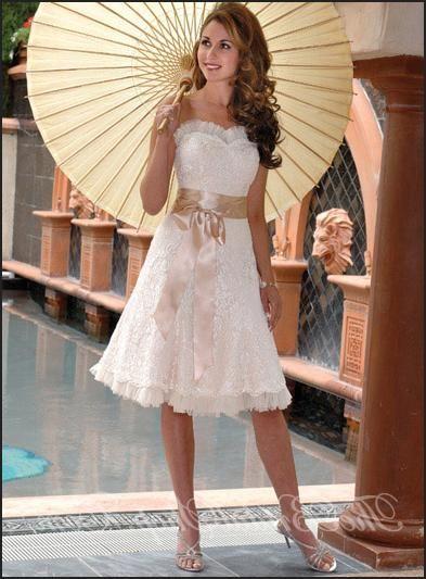 Awesome A line Sweetheart Tea length Organza Wedding Dress Didobridal