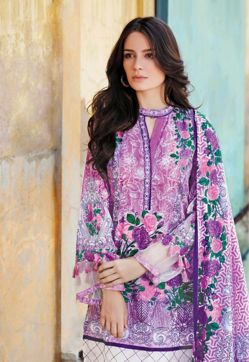 96aee13b65 purple printed lawn three pice dress by Gul Ahmed | Gul Ahmed Lawn ...