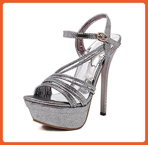 8783341ed Always Pretty Women s High Heels Open Toe Ankle Strap Platform Stiletto Pumps  Sandals Silver US 4.5 - Pumps for women ( Amazon Partner-Link)