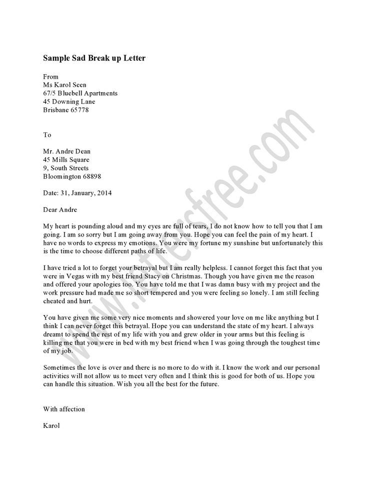 writing sad break letter the best way inform your partner letters - bar back resume