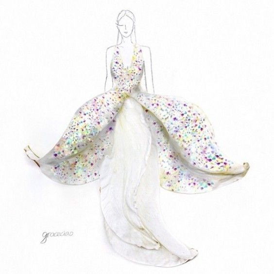 Fashion-Design Illustrations-Out Of-Flower-Petals-15