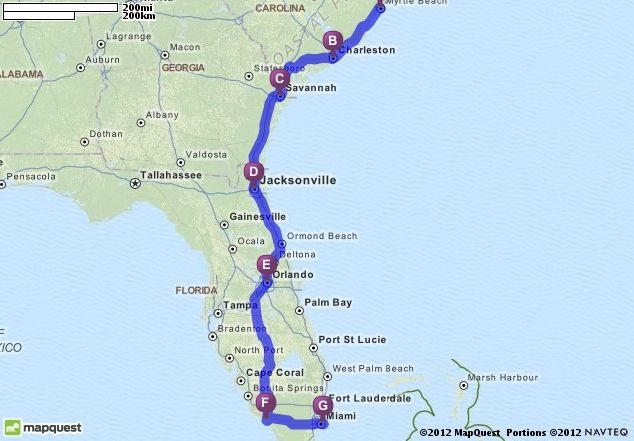 Volvo Of Charleston >> Driving Directions from Myrtle Beach, South Carolina to Miami Beach, Florida | MapQuest # ...