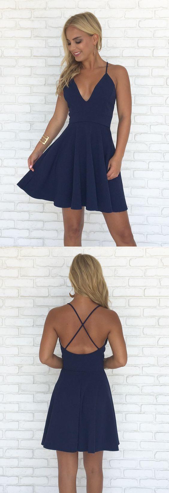 Short prom dress aline homecoming dress v neck party dress navy