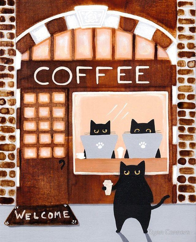 The Cats Coffee House Cat Folk Art Print 8x10, 11x14