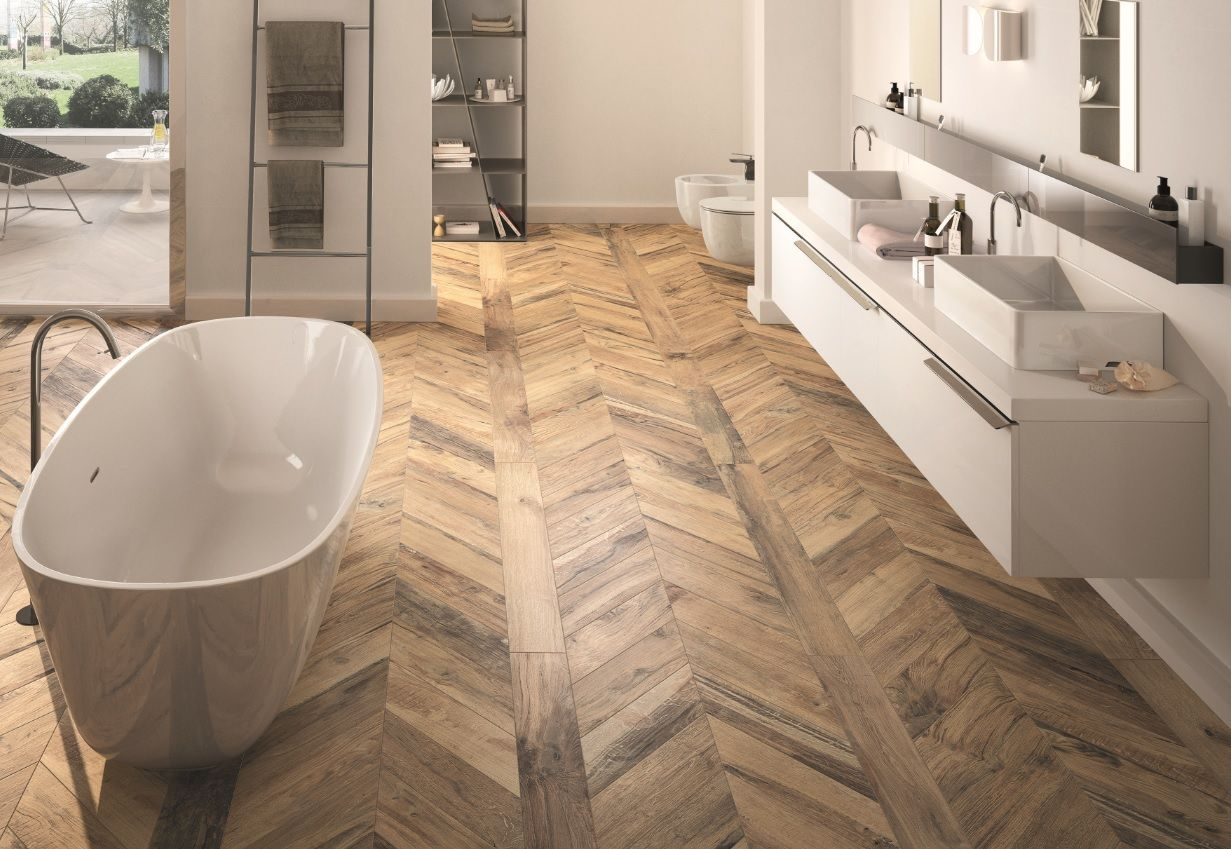 This Gorgeous Wood Effect Porcelain Tile Takes Its Inspiration From The Used Scottish Oak In Ancient Wh With Images Wood Tile Bathroom Bathroom Tile Designs Wood Look Tile