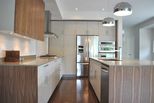Custom Revere Pewter Lacquered Slab Doors Flat Cut Walnut Veneer Kitchen Cabinetswhite Cabinetsmodern