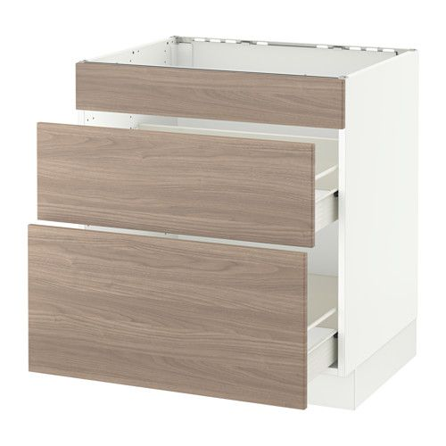 SEKTION Base cab f/cooktop with 2 drawers - white, Brokhult walnut ...