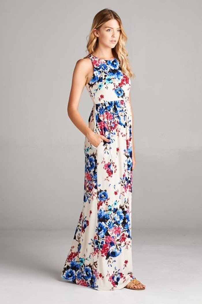 92078c1fe11 GOZON Women s Floral Sleeveless Round Neck Racerback Maxi Dress – GOZON  Boutique