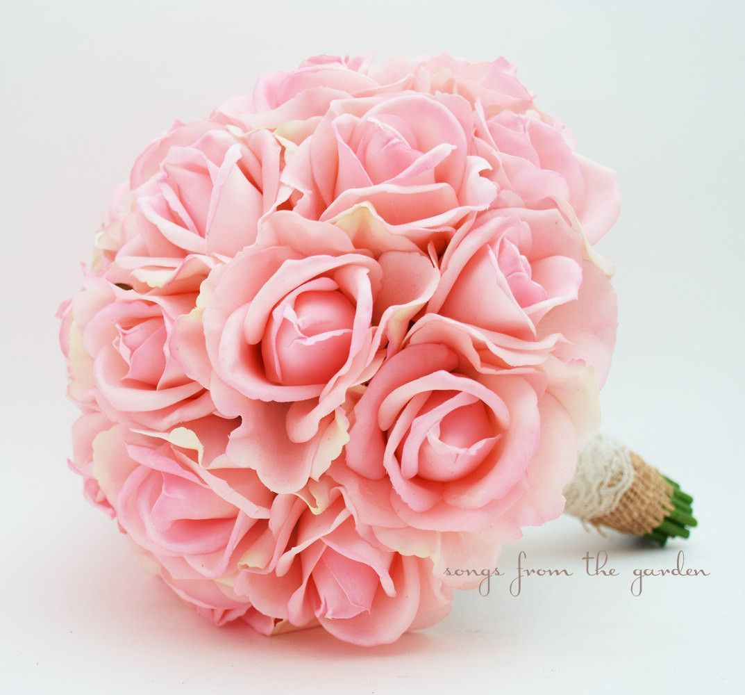 Pink Real Touch Roses Burlap & Lace Wedding Bouquet Silk Flower ...