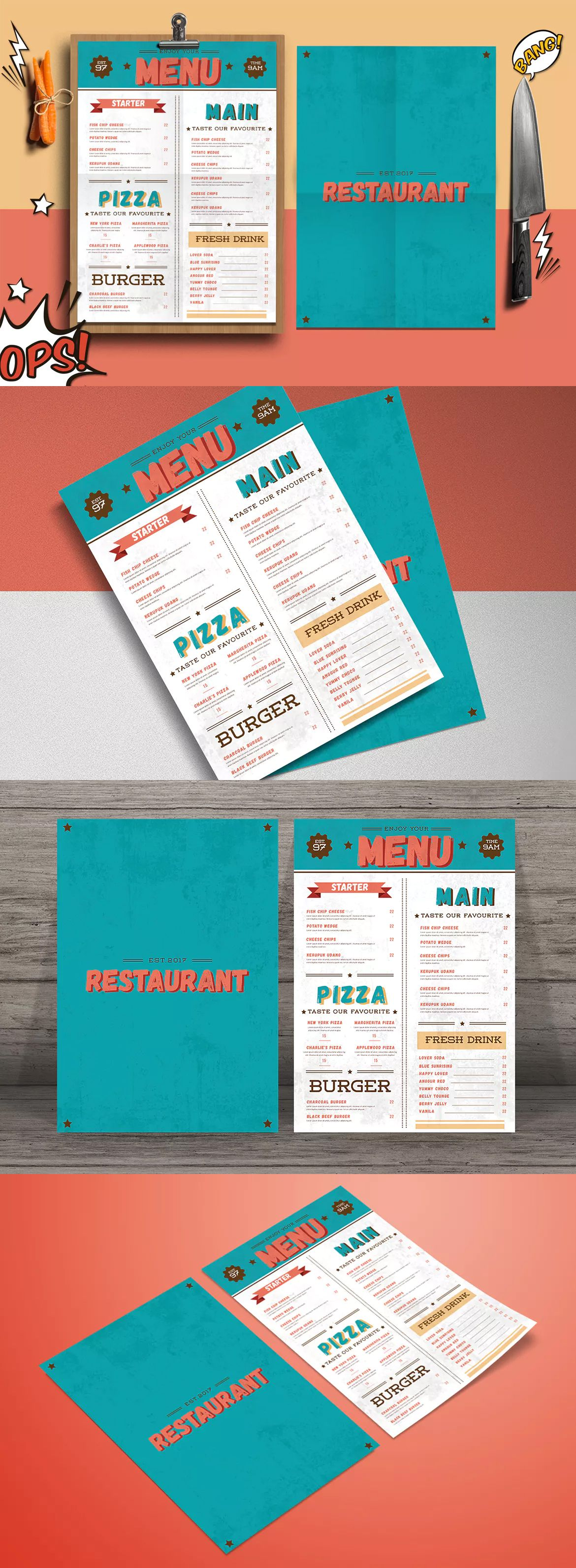Retro Menu Flyer Template Ai Psd  Flyer Templates