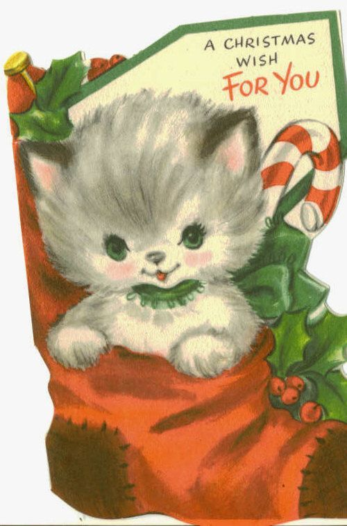 Vintage Hallmark Christmas Card Kitten In A Stocking
