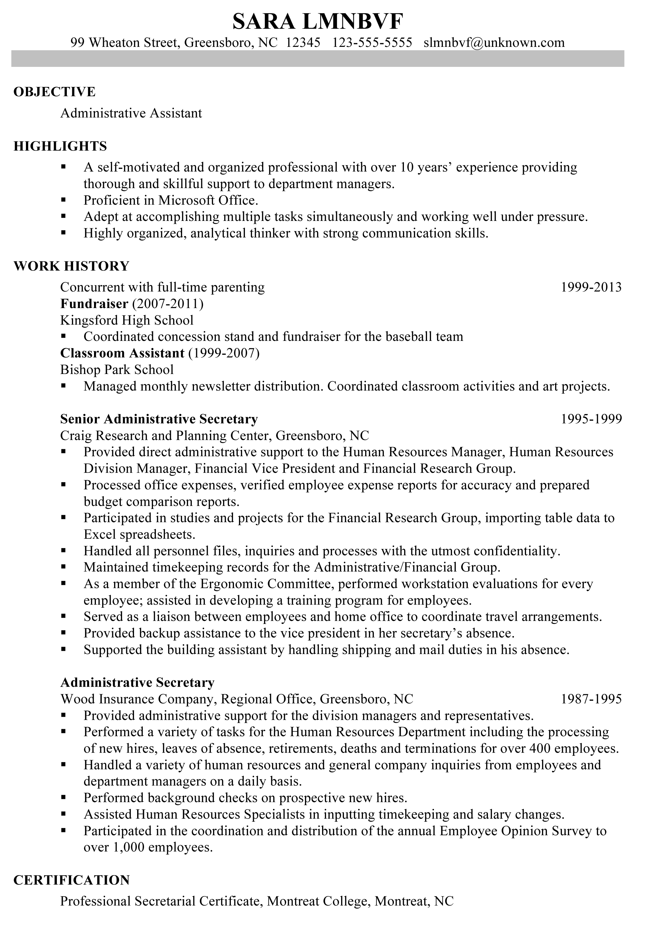 Administrative Assistant Resume Objective Examples Chronological Resume Sample Administrative Assistant  Resume