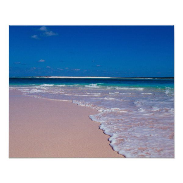Pink Sand Beach At Conch Bay Cat Island Poster Zazzle Com Pink Sand Beach Beach Sand Cat Island