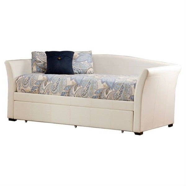Twin Size White Faux Leather Daybed With Pull Out Trundle Bed Via Polyvore  Featuring Home