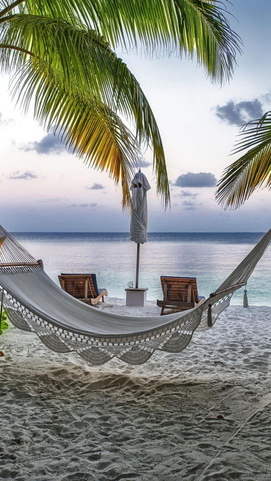 Hammock at maldives beach iphone wallpapers iPhone