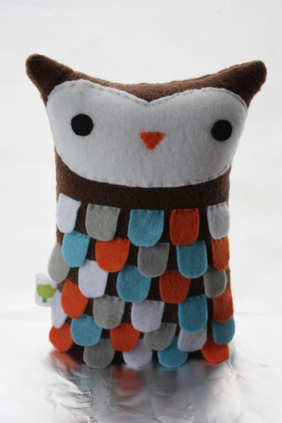 Stuffed Owl  Multicolor Flappy Owl by TreeHouseOwls on Etsy