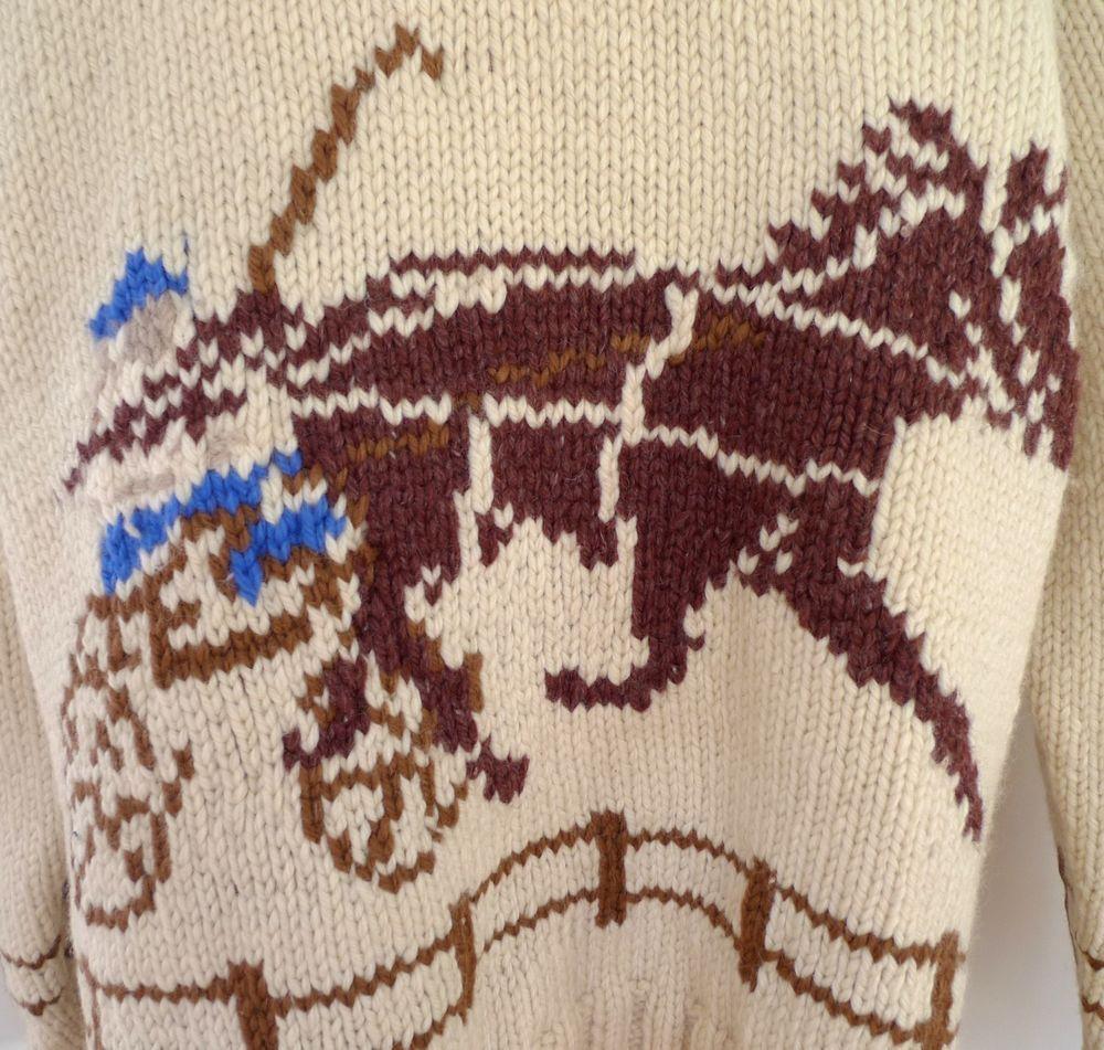 ✰ Vintage COWICHAN STYLE WOOL Sweater Hand-Knit HORSE RACING GAMBLER Western✰…