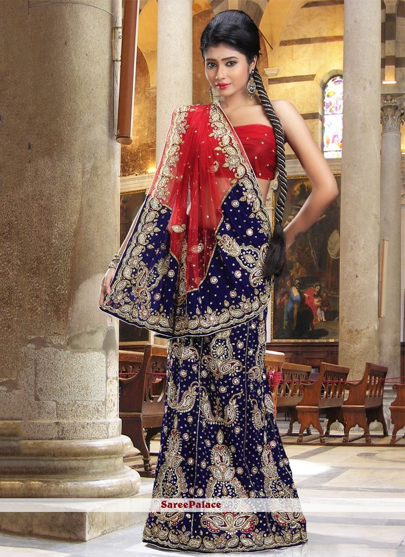 Elegant Blue Net And Velvet Lehenga Saree
