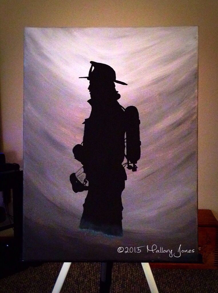 silhouette firefighter painting done by myself art pinterest