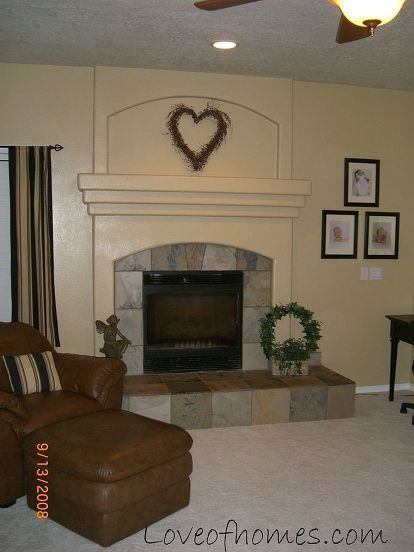 fireplace plank tile before after, diy, fireplaces mantels, living room ideas, woodworking projects