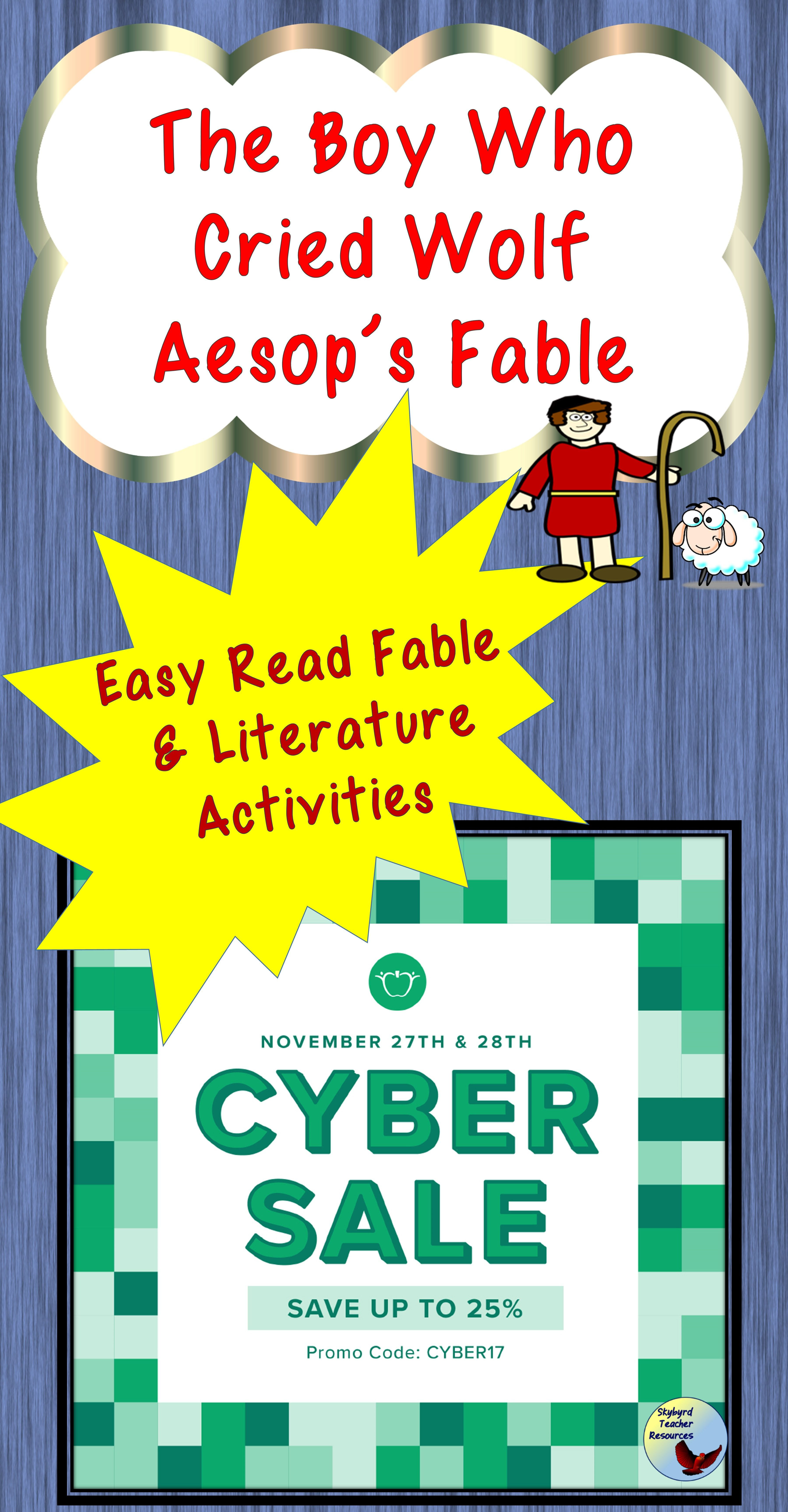 The Boy Who Cried Wolf Aesop Fable Activities Great For