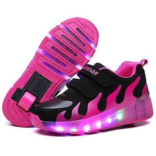 Zapato light-up LED Los niños zapatos de las muchachas jóvenes con rodillos hombres Skateboard patines , black and white , 39