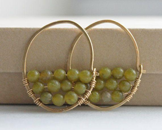 Wire Wrapped Jewelry, Handmade Beaded Hoop Earrings, Jade Earrings, Brass Earrings, Bohemian Jewelry, Boho Hippie Jewlery via Etsy