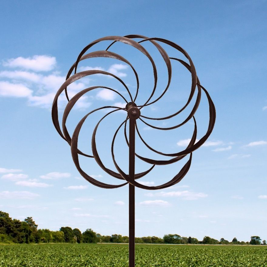 Large Garden Spinner Featuring Dancing Pinwheel Design