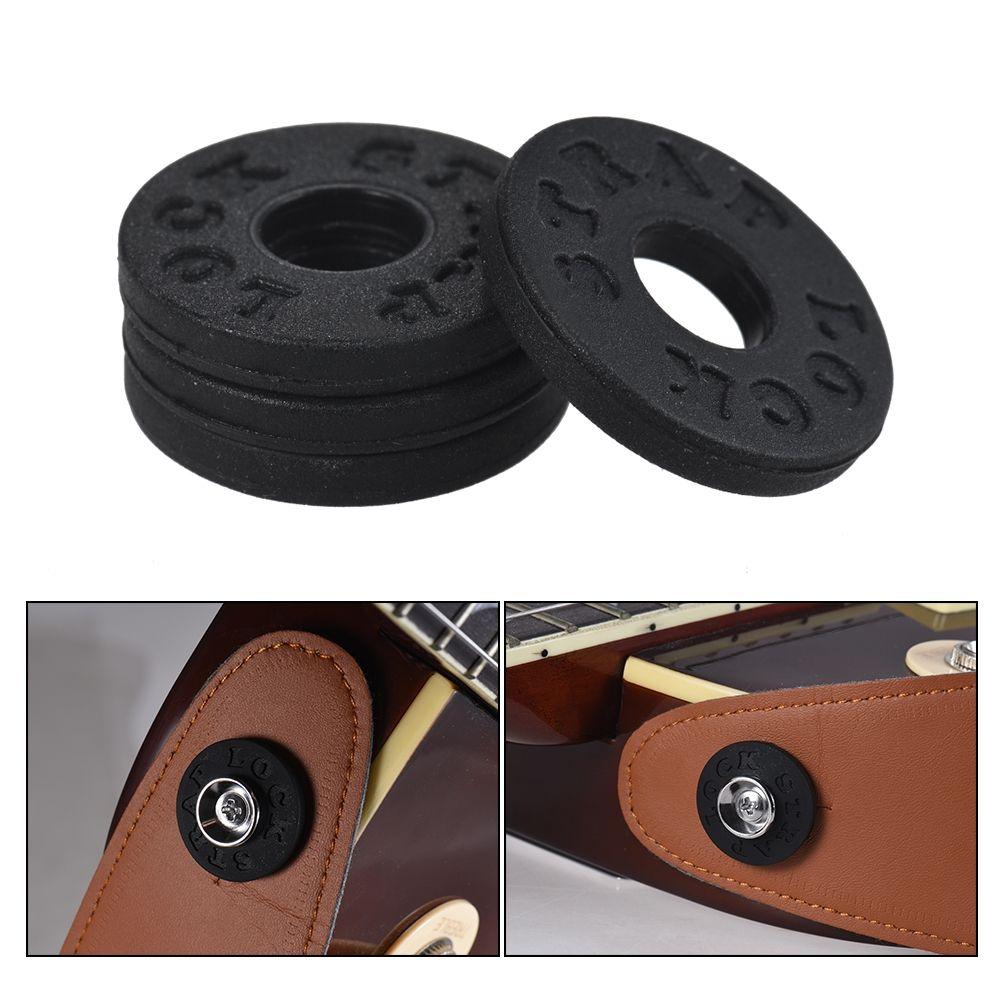 4pcs electric guitar strap locks rubber material