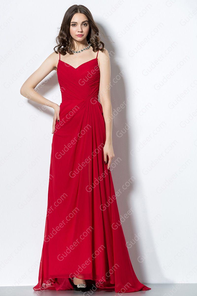 Red High Low Hem Spaghetti Strap Long Chiffon Bridesmaid Dress