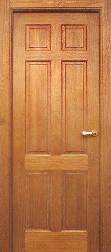 Puerta interior seis cuadros en madera de pino con manilla de porcelana barnizada en color miel - Manillas para puertas de madera ...