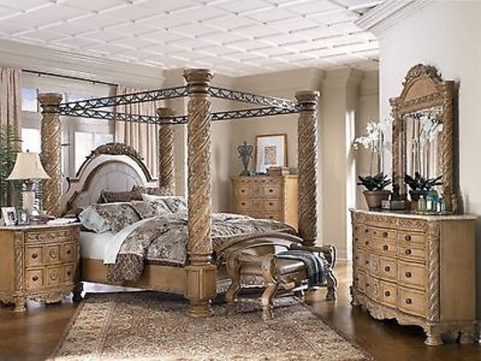 Ashley Furniture South Shore King Poster Canopy Bed Dresser Mirror