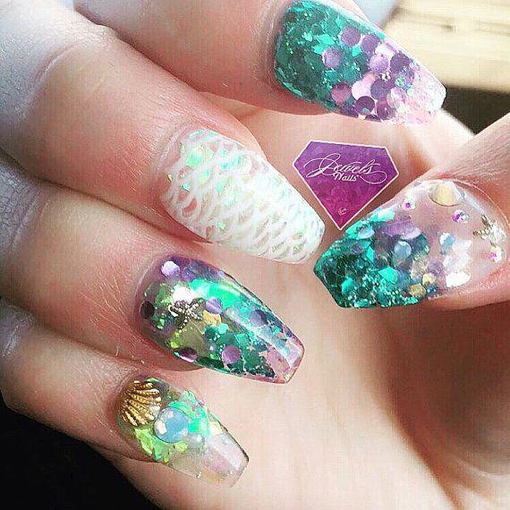 Sea theme nails x mermaid nails x glitter x uv gel by JEWELSNAILS ...