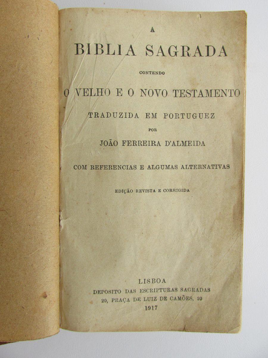 Biblia Antiga Joao Ferreira De Almeida 1917 Edicao De 1900