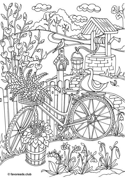 Country Spring Bicycle Adult Coloring Pages Printable Adult