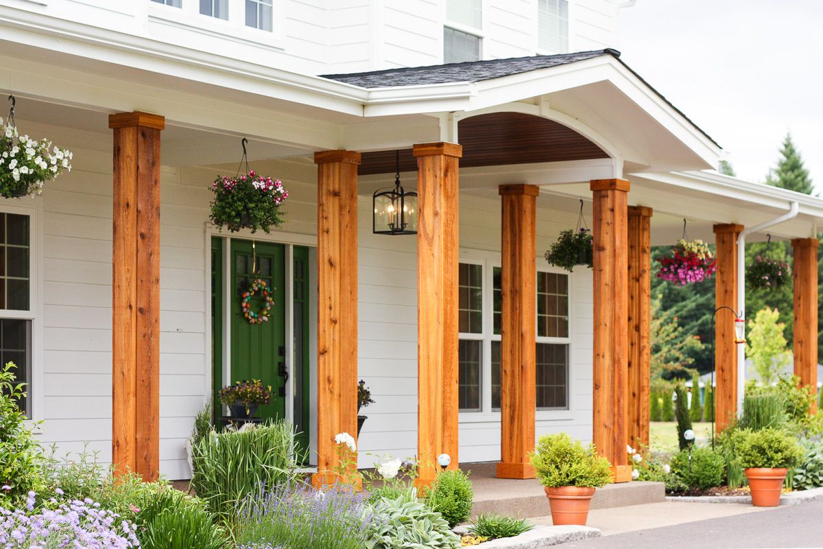 Adding Cedar Pillars To Our Dream House House Front Porch Porch