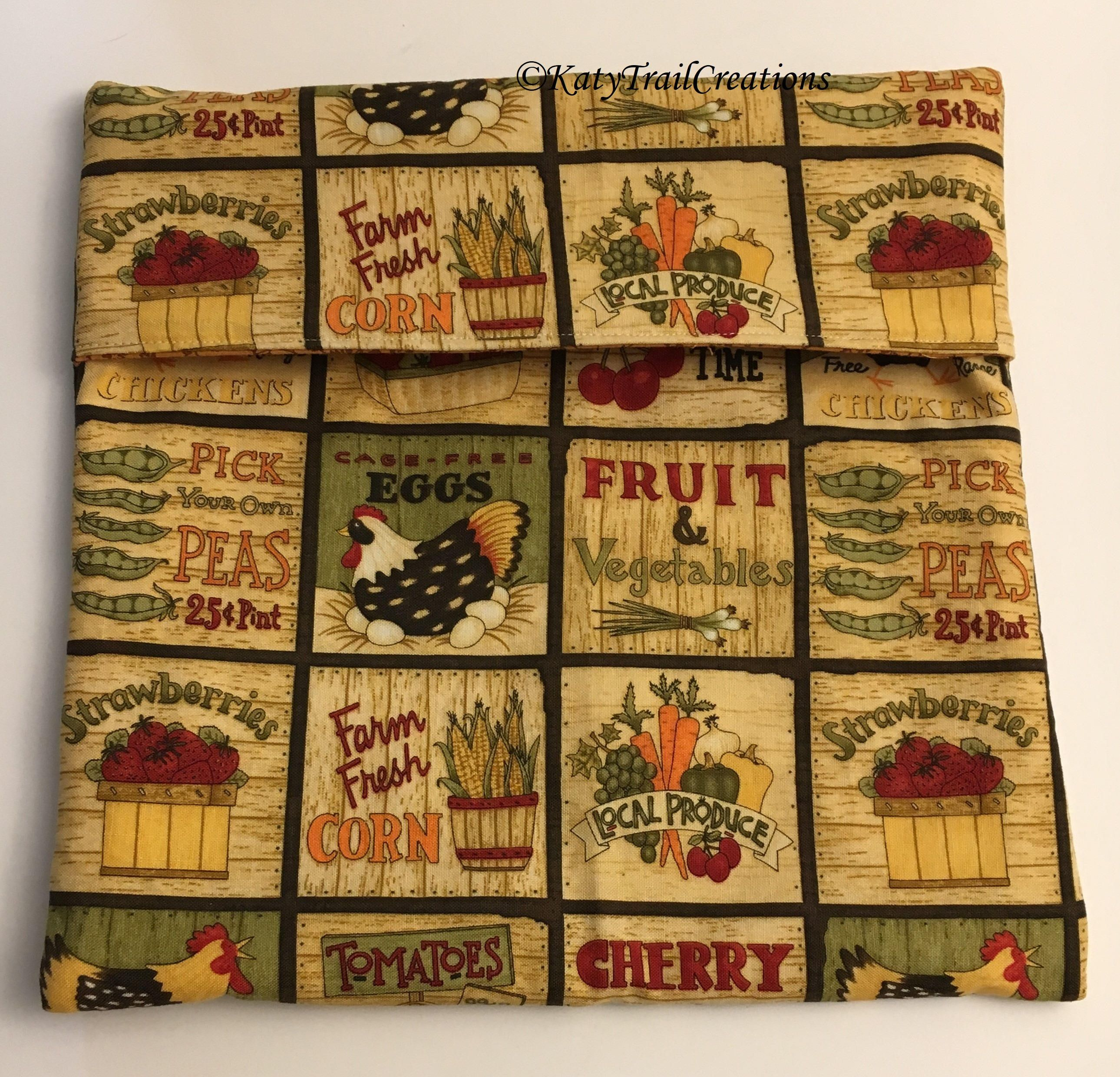 Microwave Potato Bag Tortilla Warmer Farmer S Market Fabric By Katytrailcreations On Etsy