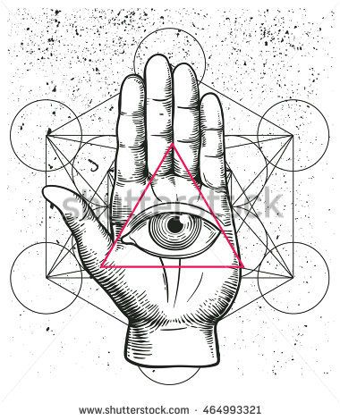 Sacred Geometry Hand And All Seeing Eye Symbol Inside Triangle