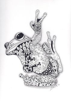 Zentangle Frogs Google Search Frog Tattoos Frog Art