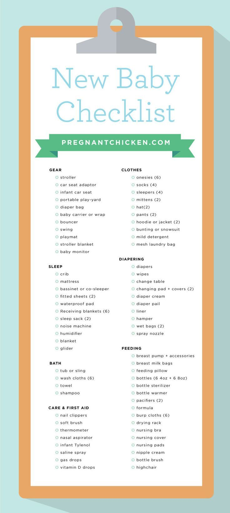 New Baby Checklist  What To Get When Expecting  Babies And Pregnancy