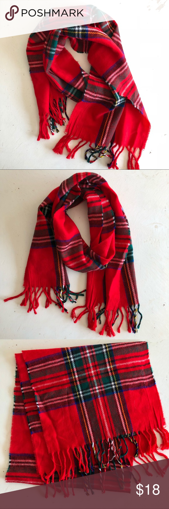 cozy plaid scarf christmas reds - Christmas Plaid Scarf
