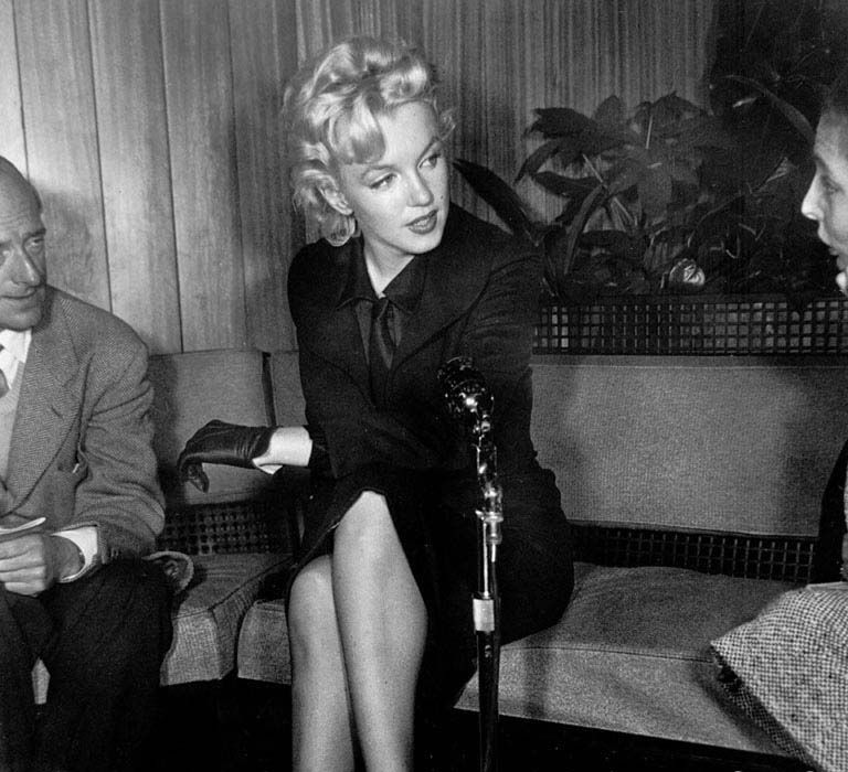 "Marilyn Monroe at a press conference on her return to Los Angeles to film ""Bus Stop"", February 25th 1956."