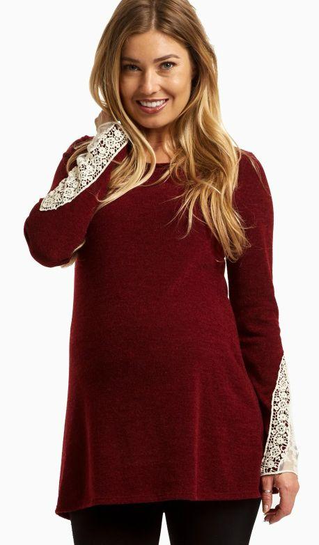 eb3d0b7bf91a9 Burgundy Lace Cuff Knit Maternity Top