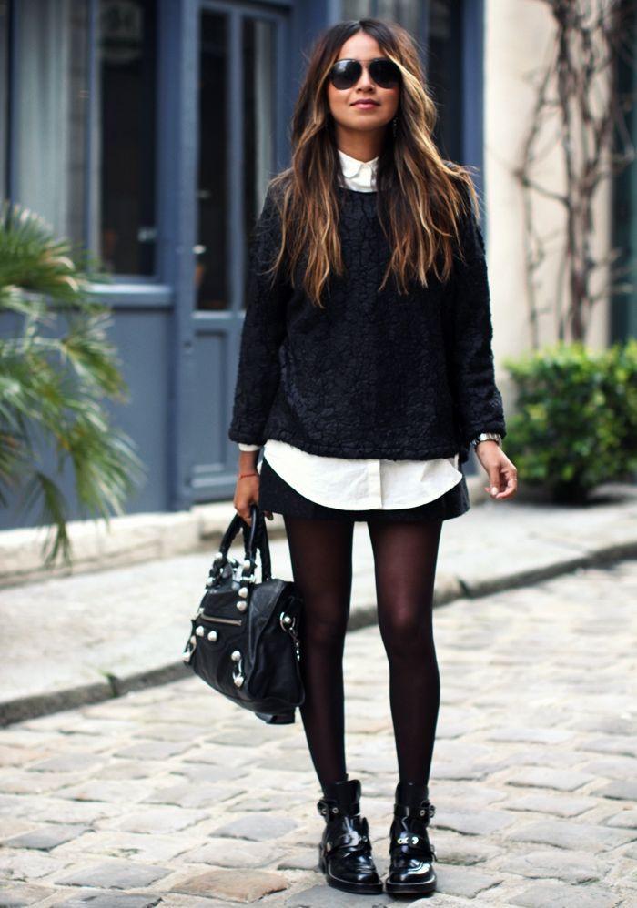 792329159f40 Bottines loose + collants fins + mini jupe noire + chemise blanche + pull  gris noir + cheveux longs + lunettes de soleil