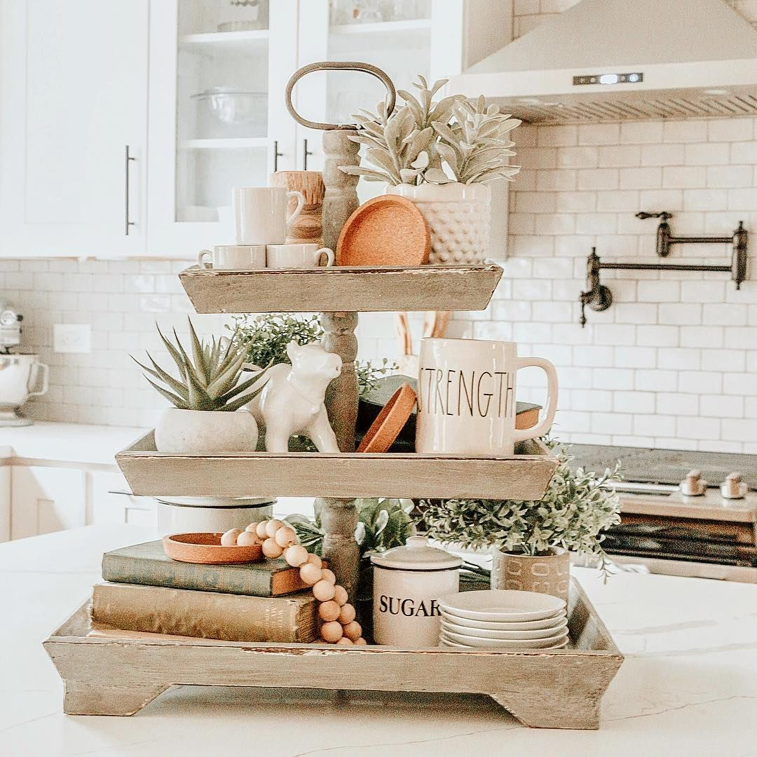 Loving This Square Wooden 3 Tiered Tray For Spring Perfect Farmhouse And Rustic Vibes Love Serving Tray Decor Centerpieces Serving Tray Decor Tray Decor
