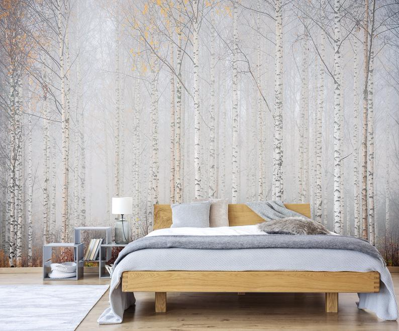 Birch Tree Forest Wallpaper Self Adhesive Peel And Stick Floral