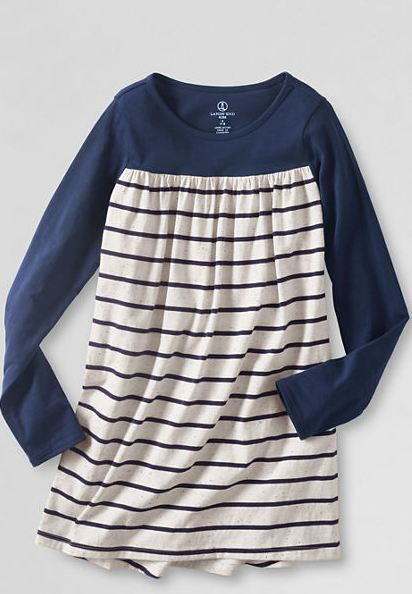 Girls' Long Sleeve Gathered Yoke Legging Top Multi Midnight Navy Stripe